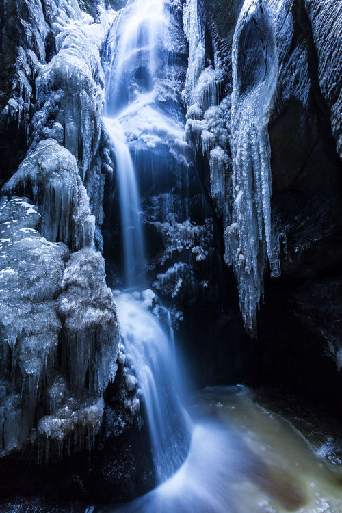Adršpach, Czech Republic Adršpach Ice Beauty In Nature Ice Waterfalls Long Exposure Motion Nature No People Outdoors Power In Nature River Rock - Object Rock Formation Scenics Water Waterfall