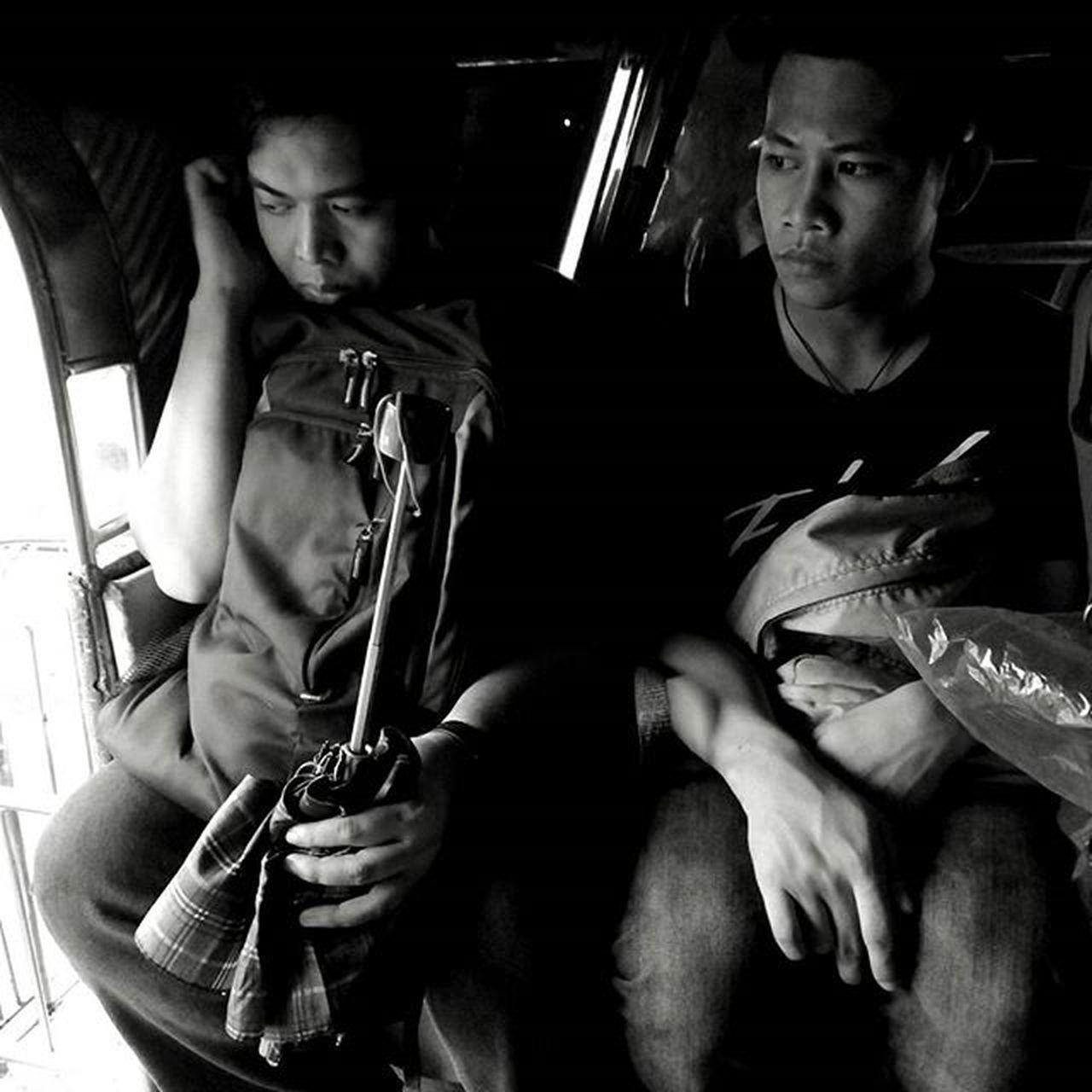 Jeepney passengers. People Passengers Jeepeney Ride Transportation Blackandwhite Monochrome Manila Emotions Philippines Eyeem Philippines Expressions Urban The Commute Everyday Emotions