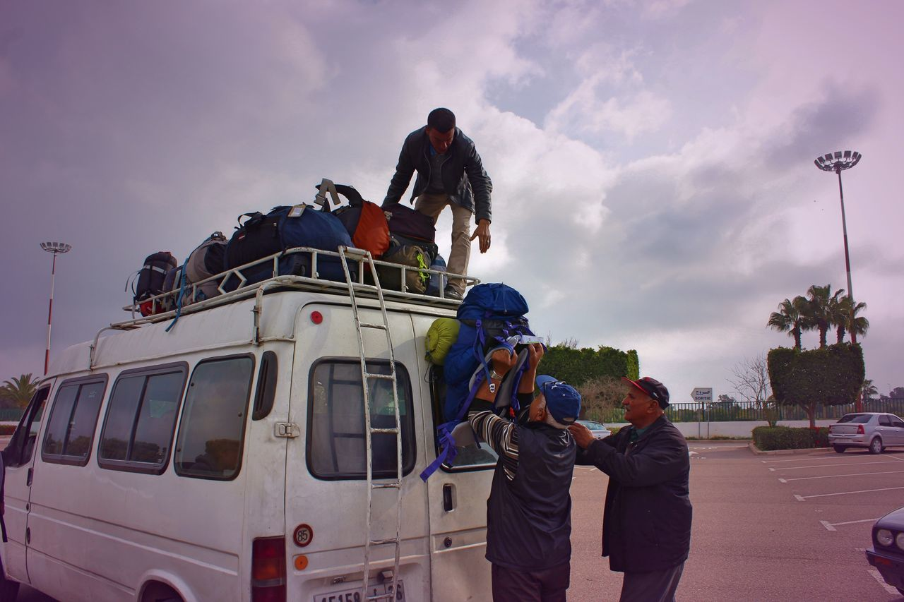 Team Backpack Backpacking Bus City Day Holiday Loading Minibus Morocco Outdoors People Teamwork