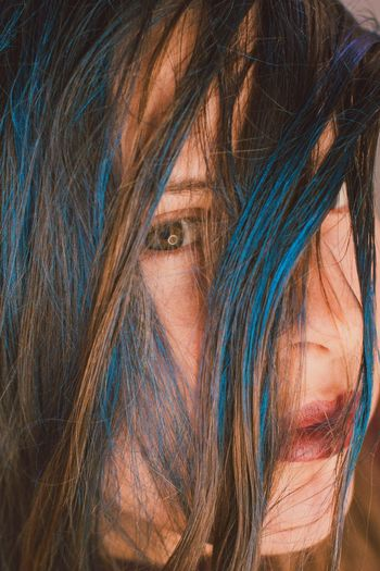 Beauty Close-up Blue Blue Hair Hair Colors Colorful Multi Colored Eyes Studio Studio Shot Studio Photography Indoors  Tangled Hair Fashion Photography Fashion Portrait Portrait Of A Woman Portrait Photography Beautyshot Makeupartist Cosmetics Makeup Photographer Photoshoot