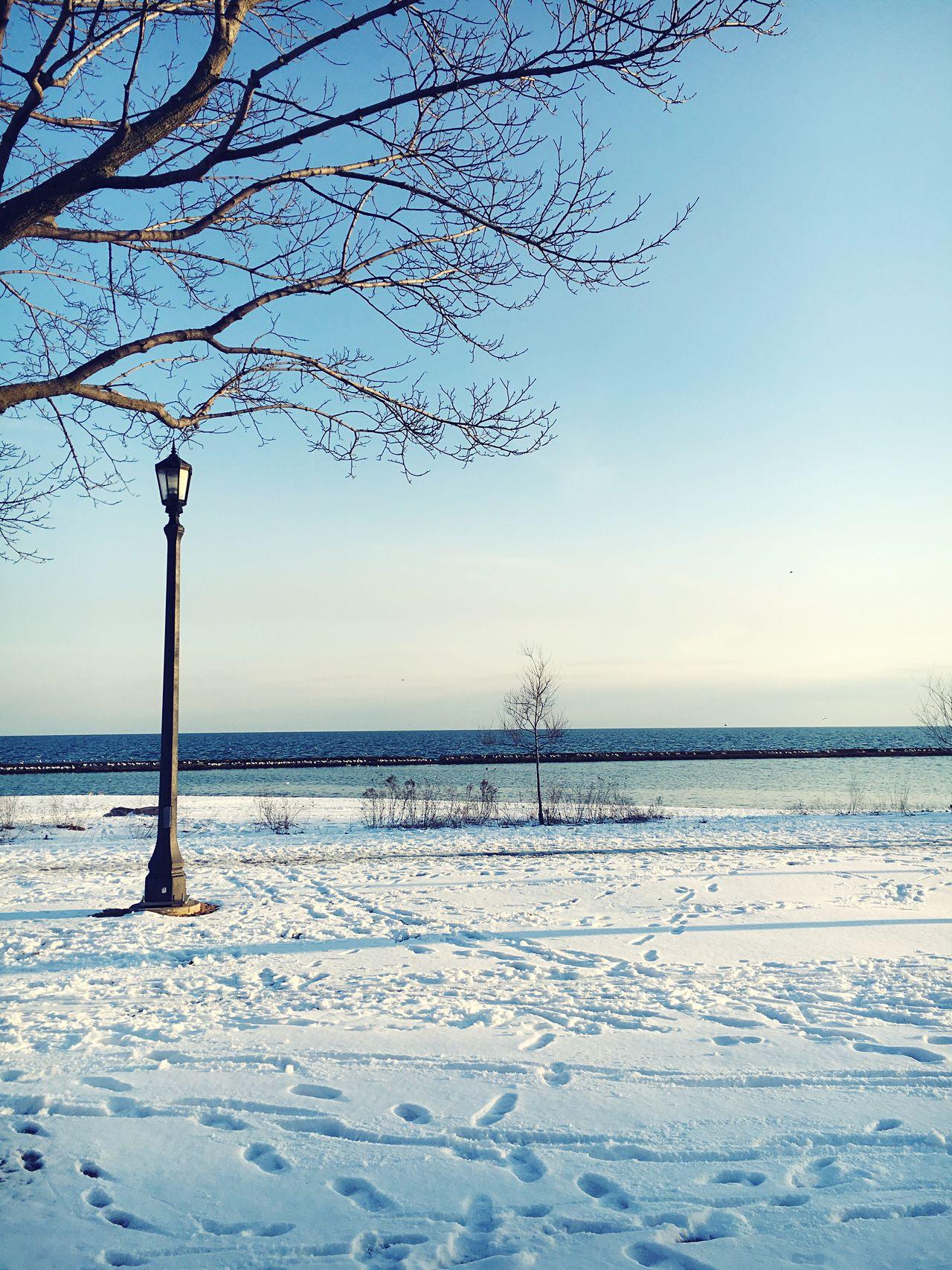 Canadianwinter Lakeshore Toronto Horizon Over Water Wanderer