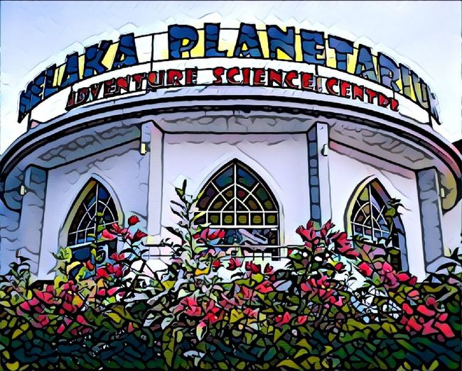 HuaweiP9 Huaweiphotography Huaweiphoto Filter Prisma Pomegranate Melaka Malacca Planetarium Science.  Architecture Arch Arched Windows Flower Text Architecture Day Outdoors Building Exterior Built Structure No People Multi Colored Police Force Close-up