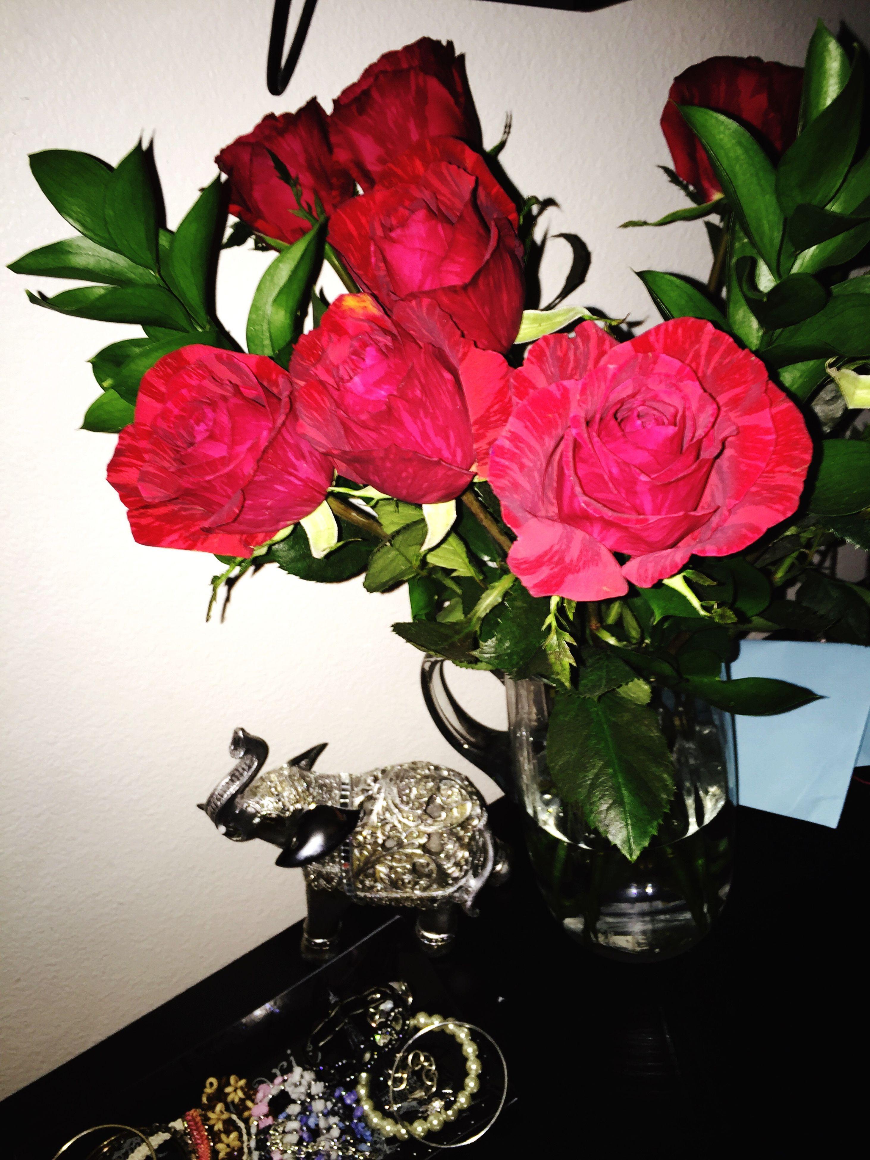 flower, indoors, fragility, freshness, vase, leaf, petal, plant, growth, table, rose - flower, red, flower head, potted plant, decoration, beauty in nature, close-up, nature, flower arrangement, home interior