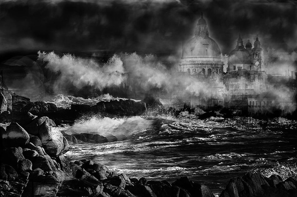 Imaginary landscape No.1 Black And White Building Exterior Creative Dreamy Fantastic Fantastic Landscape Fine Art Fine Art Photography Illustration Imaginary Landscapes Landscape Moody Nature No People Outdoors Seascape Water Waterfall