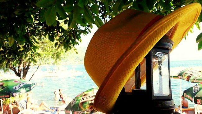 Summertime Summer Views Water Outdoors Vacations Day Green Color Close-up Tree Nature Coastline Tranquility Hat Yellow Yellow Hat Lake Beach Beachphotography Popular Photos Beauty Focus On Foreground Scenics