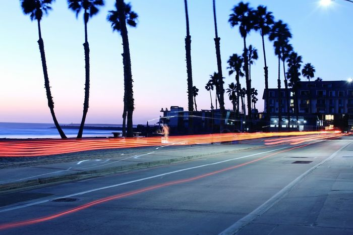 Long Exposure Light Trail Transportation Motion Road Outdoors Sky Water No People Tree Sea Oceanside, Ca Night Illuminated Speed Street