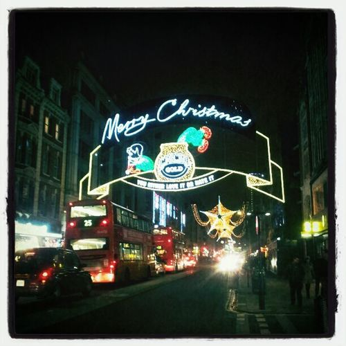 Christmas mood Night Lights London X-mas Oxford St London At Night