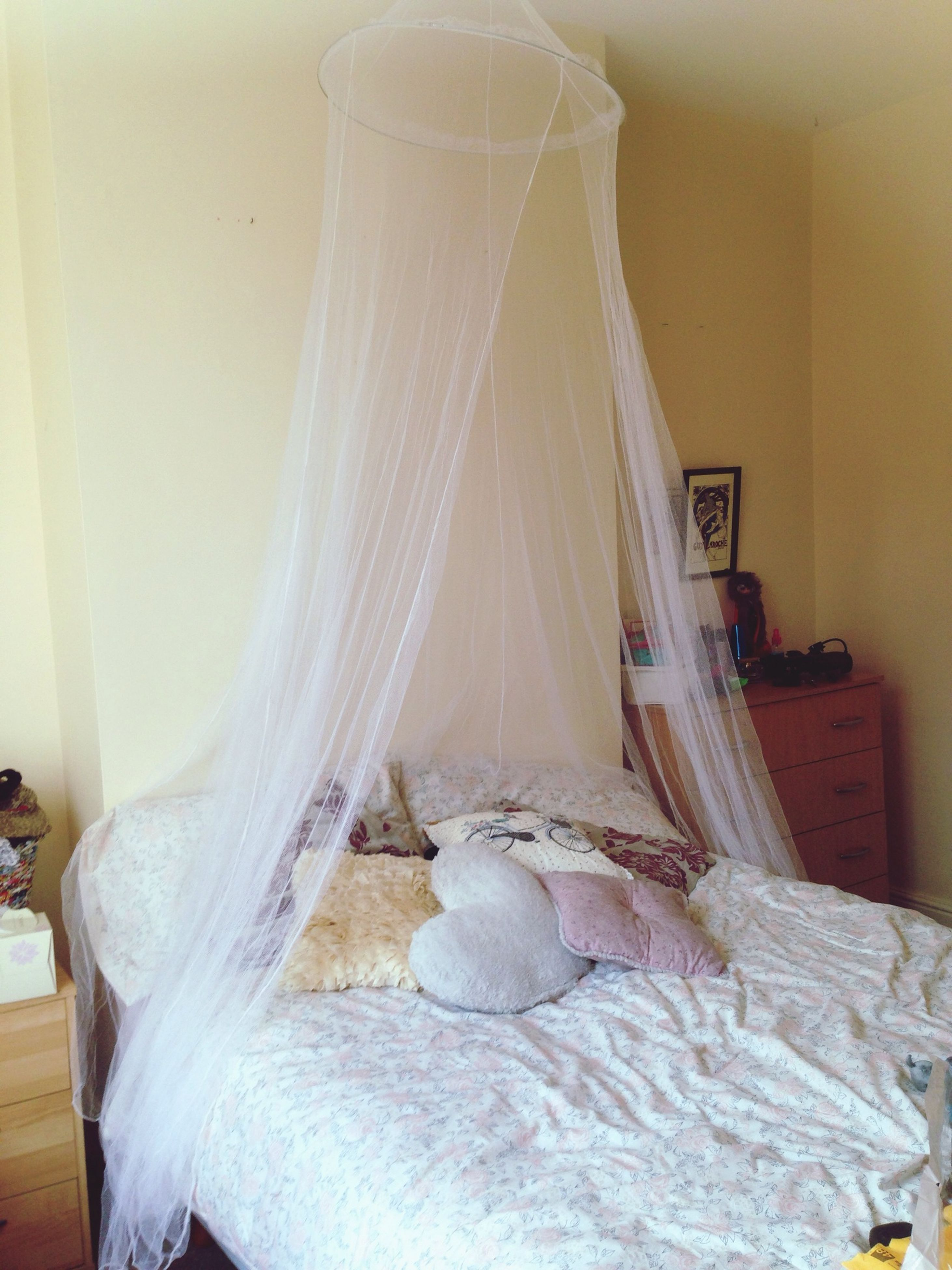 indoors, home interior, white color, close-up, art and craft, curtain, human representation, creativity, art, wall - building feature, white, still life, fabric, domestic room, hanging, covering, no people, textile, bed