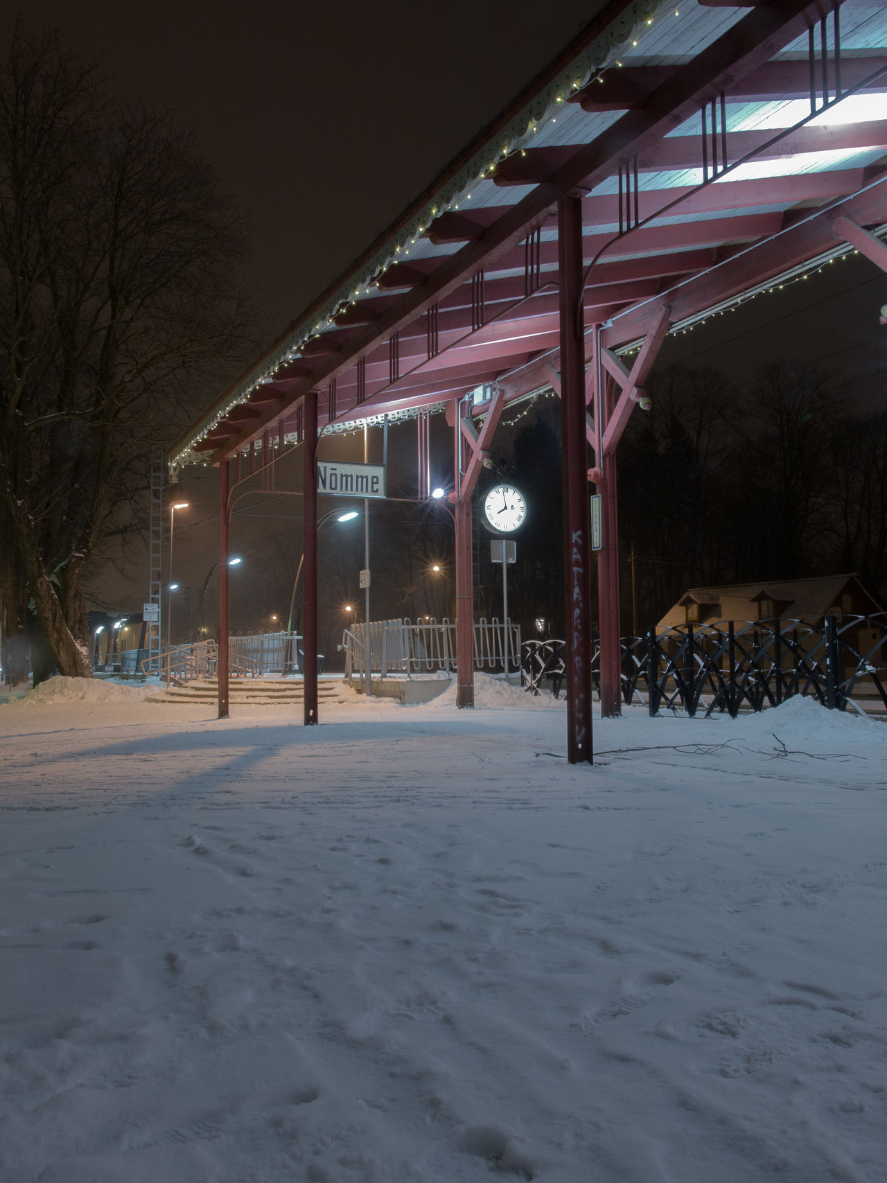 City Cold Temperature Empty Illuminated Night No People Nõmme Outdoors Snow Tallinn Trainstation Transport Transportation Winter Winter