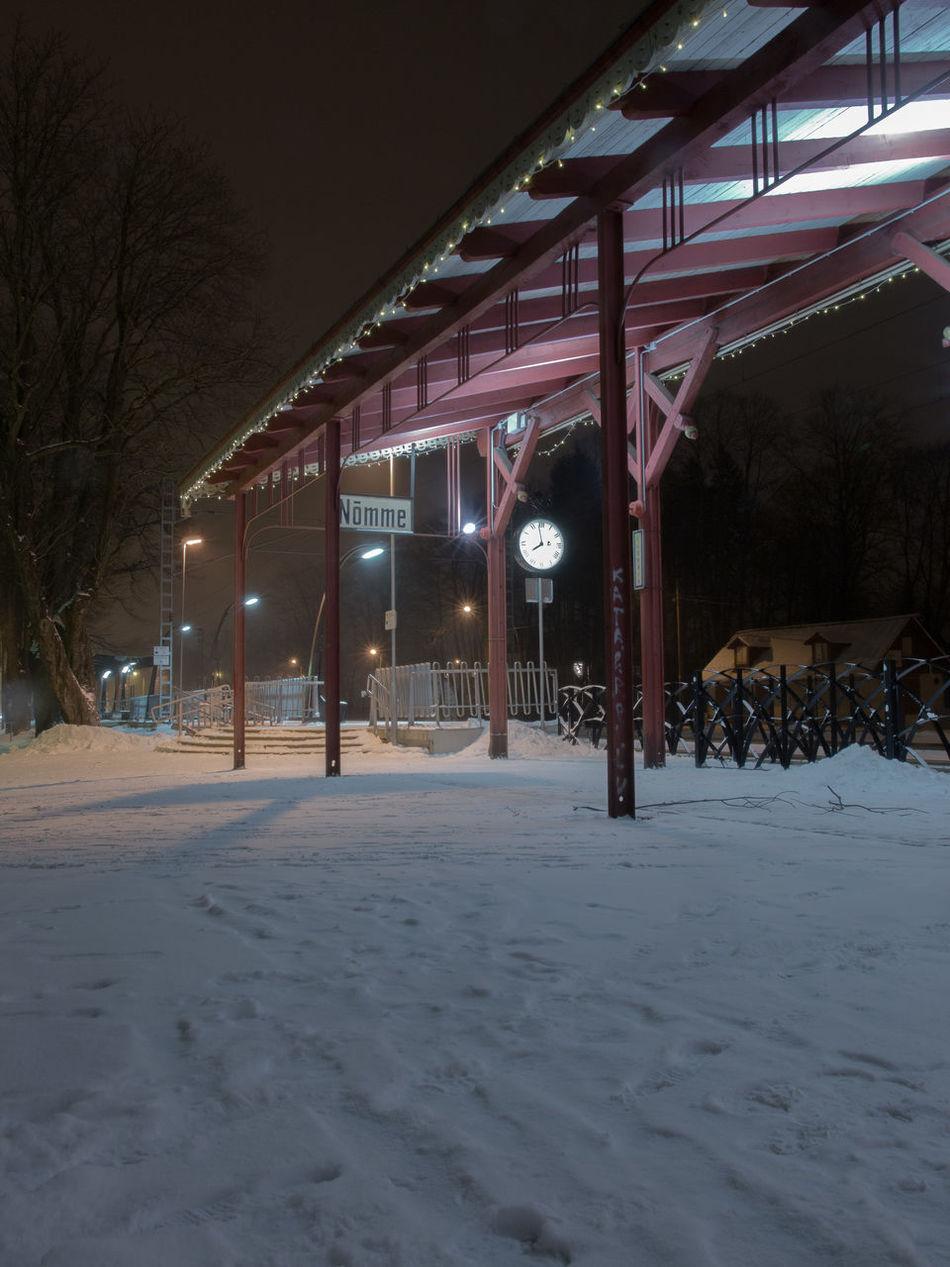 City Cold Temperature Empty Illuminated Night No People Nõmme Outdoors Snow Tallinn Trainstation Transport Transportation Winter Winter