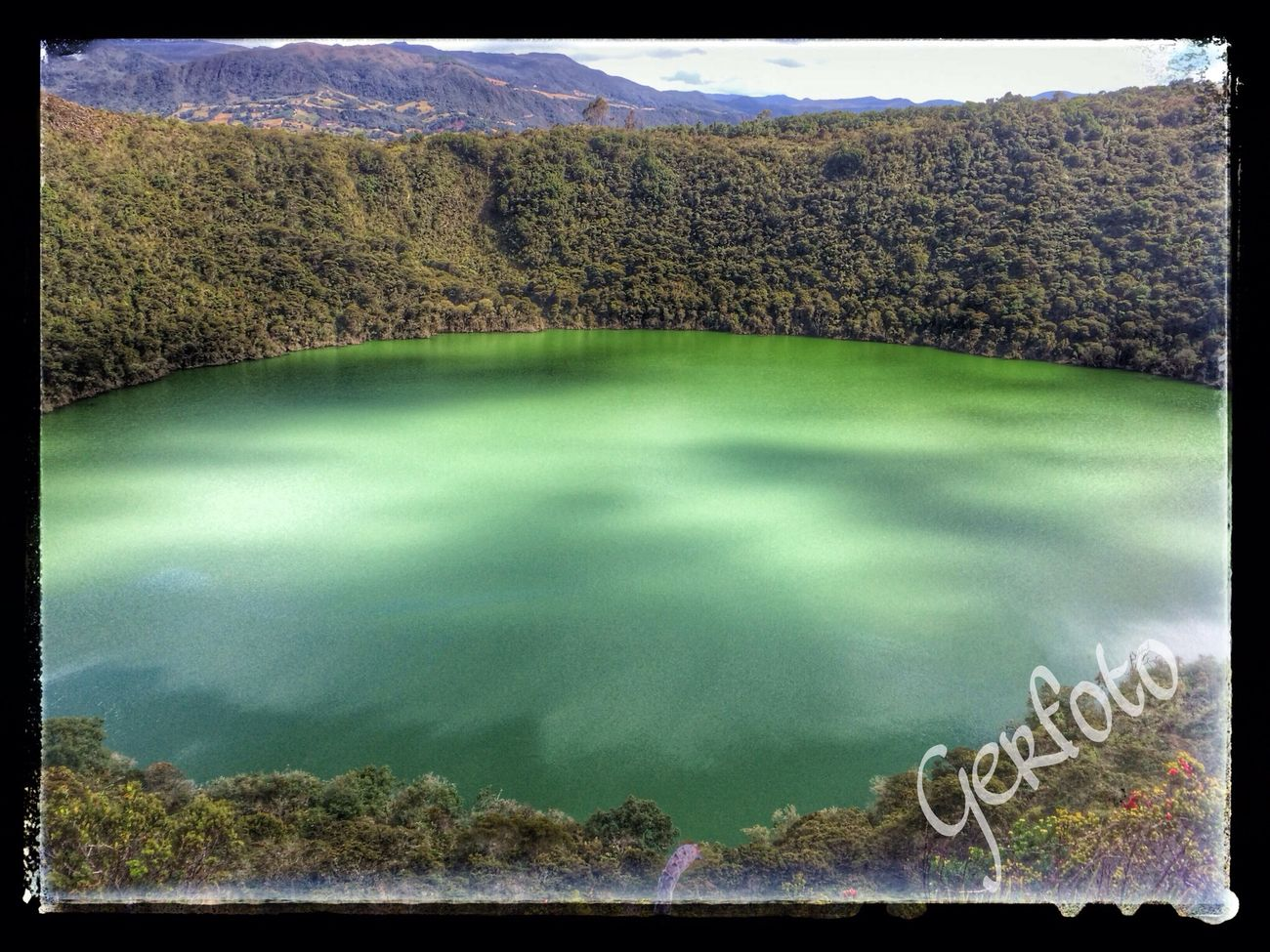 Sightseeing Guatavita lake. Legend of El Dorado Colombia Lake View