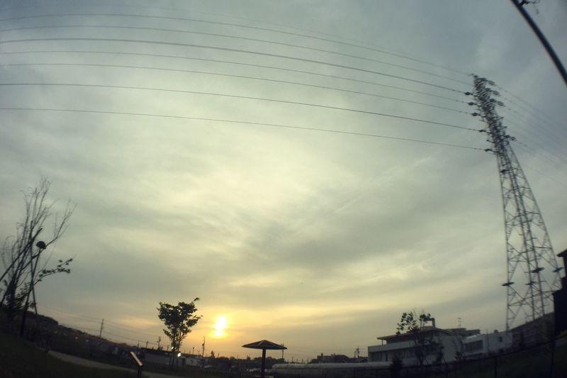 夕陽 夕焼け Sunset 電線 Electric Wires 空 Sky 鉄塔 Steel Tower  Pylon