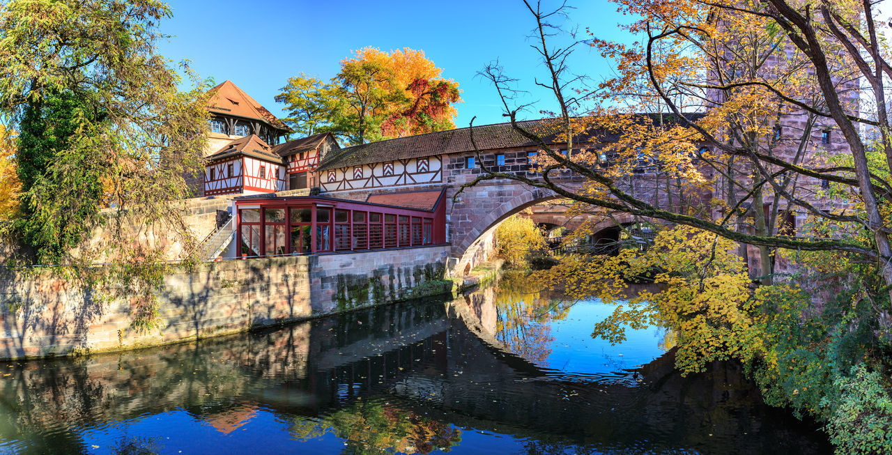 The riverside of Pegnitz river in Nuremberg town, Germany Nuernberg, Nuremberg, Pegnitz River, Town, Architecture, Building, Cities, Culture, Destinations, Europe, European, Germany, Historic, House, Landmarks, Landscape, Old, River, Riverbank, Riverside, Street, Travel