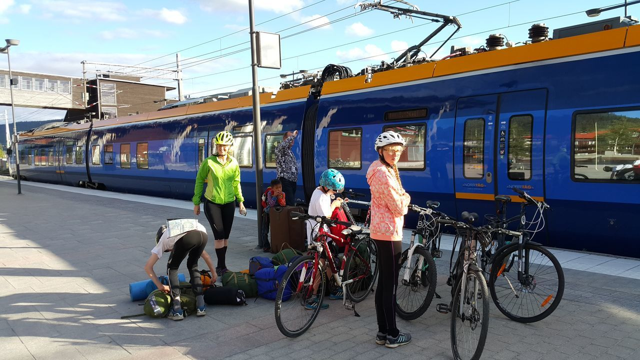 Biking Tour Starting The Day With Train From  Norway to Sweden. The Whole Family are Taking Part Adventure Club On The Way