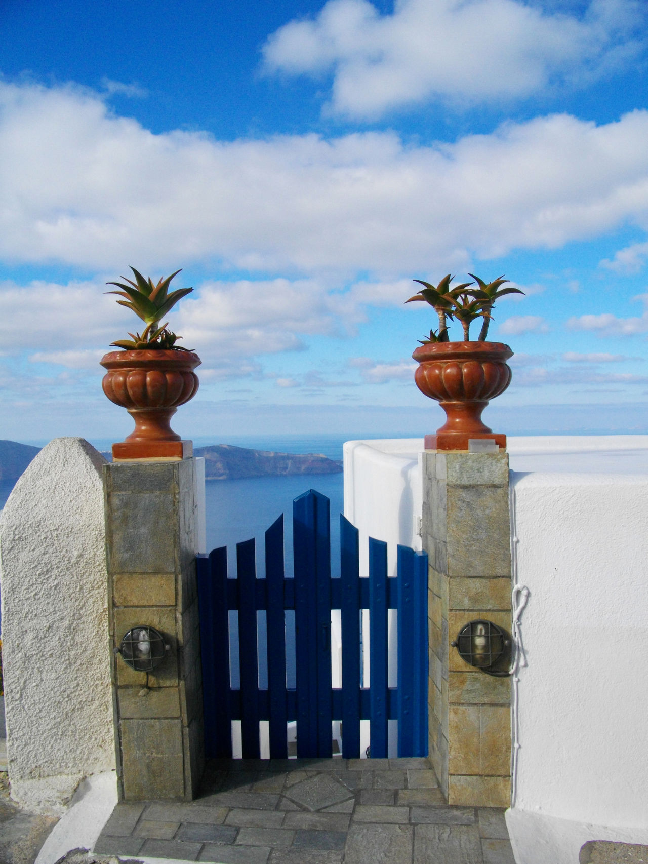 Balcony Calm Cloud - Sky Cloudy Day Gate Horizon Jars  Nature Ocean Outdoors Palnts Potted Plants Scenics Sea Sky Tranquil Scene Tranquility Water