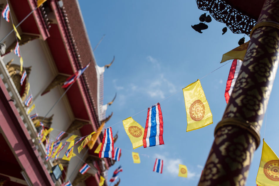 Buddhism Buddhist Flag Buddhist Temple Chiang Mai Chiang Mai | Thailand Flags In The Wind  Temple Architecture Thai Temple