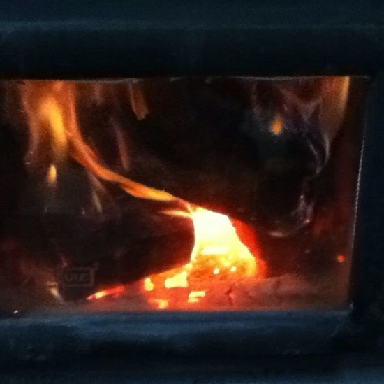 """""""Oh, the #weather outside *is* frightful..."""" I see where those lyrics originated. OvO But, I'm safely ensconced by my parents' wood #stove for the #holidays with the #flames dancing merrily."""