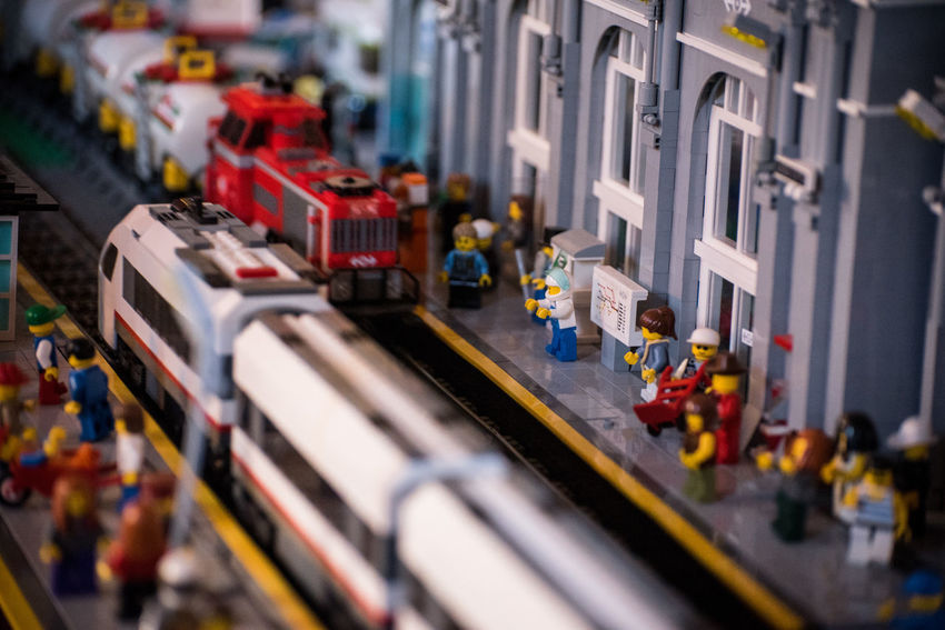 Close-up Dock Large Group Of Objects Locomotive No People Railway Station Dock Toy Toys Train Train Station Wagon  Figurine  Tilt-shift