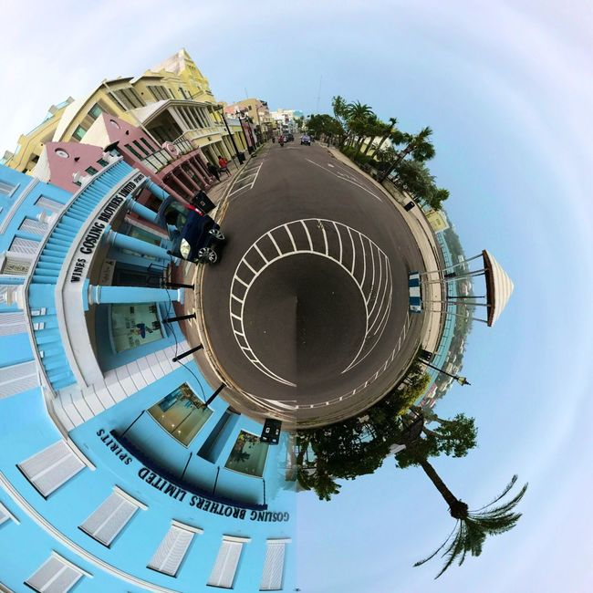 It's a small world after all Bermuda Frontstreet  Bird Cage Goslings Goslingsrum Architecture City Sky Building Exterior Built Structure Skyscraper Outdoors Fish-eye Lens No People Distorted Image Day