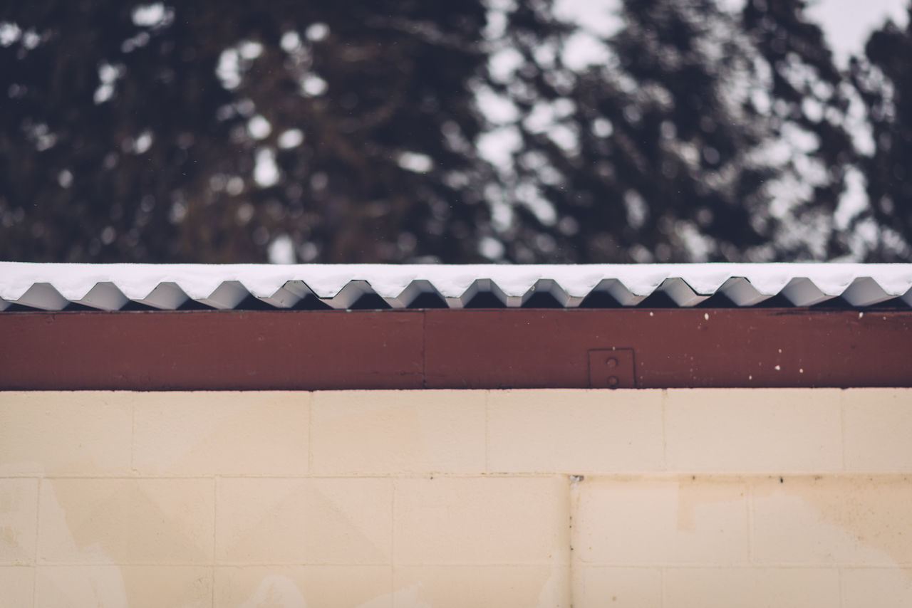 Architecture Building Exterior Built Structure Corrugated Metal Day Focus On Foreground Neutral Bu No People Outdoors Shallow Depth Of Field SNOWY AFTERNOON Snowy Afternoon,