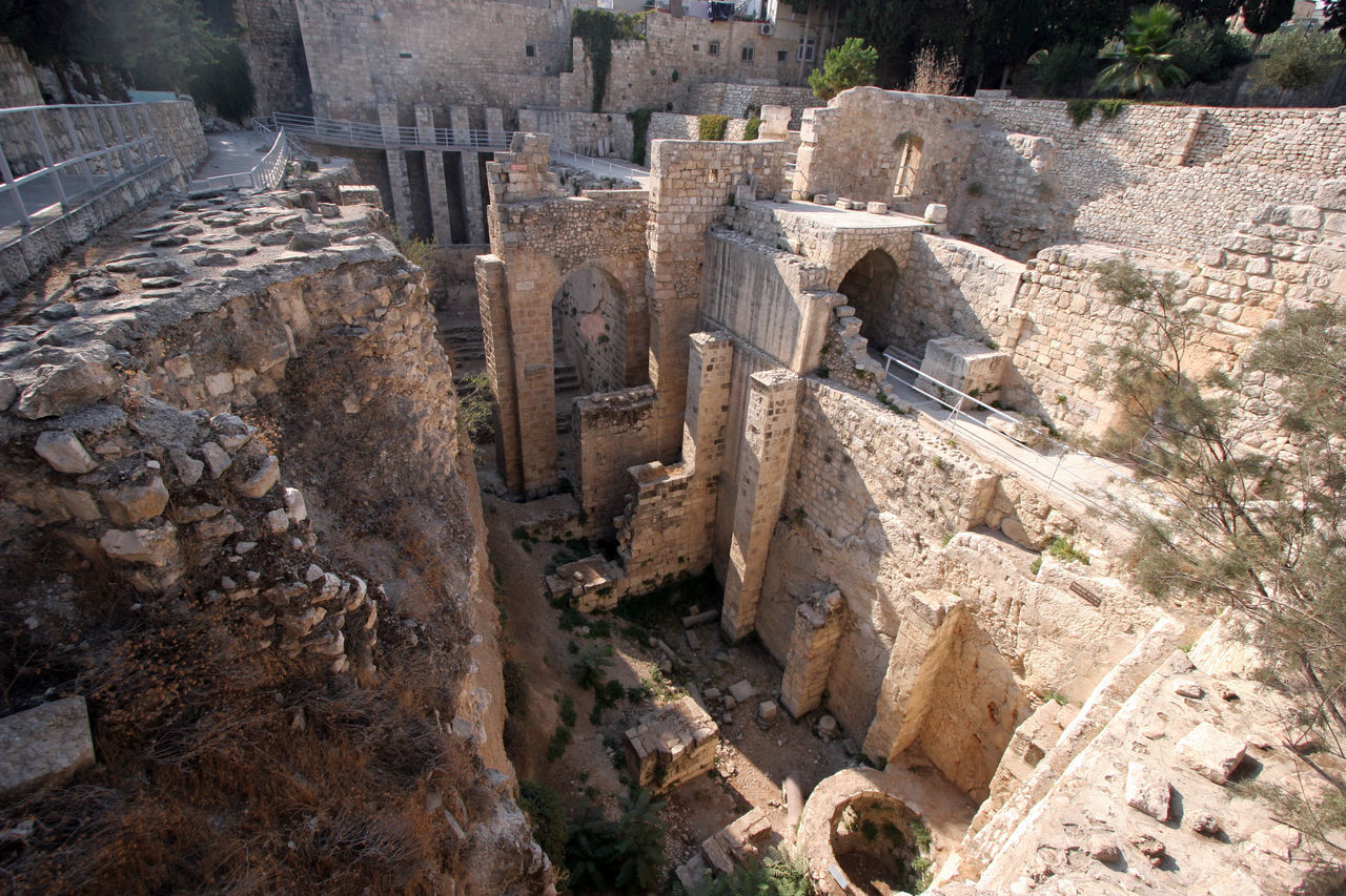 Ancient ruins of pools in the Muslim Quarter of Jerusalem Ancient Ancient Civilization Antique Archeology Architecture City Civilization Culture Historical Holy City Israel Jerusalem Mediterranean  Middle East Old Palestine Pool Ruin Stone Structure The Past Wall Water