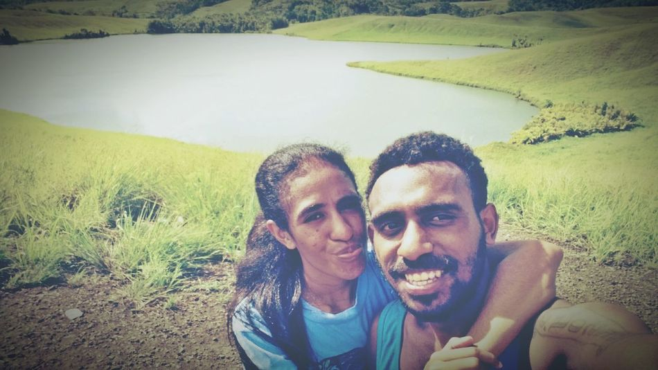 With my princess Two People Selfie Looking At Camera Outdoors Happiness Papua Island Love Lake Togetherness