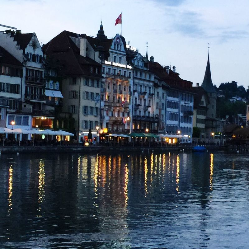 Lucern, Switzerland at night Reflections watercolors IPhone 6+ Iphonephotography Nightphotography memories