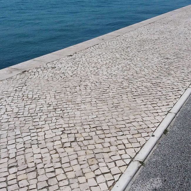 Abstraction Streetphotography Casualphotography Water Footpath Pedestrian Walkway Stone Material Geometric Shape Tranquility Belém, Lisboa Belém Desconstruction Abstractions Lines And Shapes Lines, Shapes And Curves