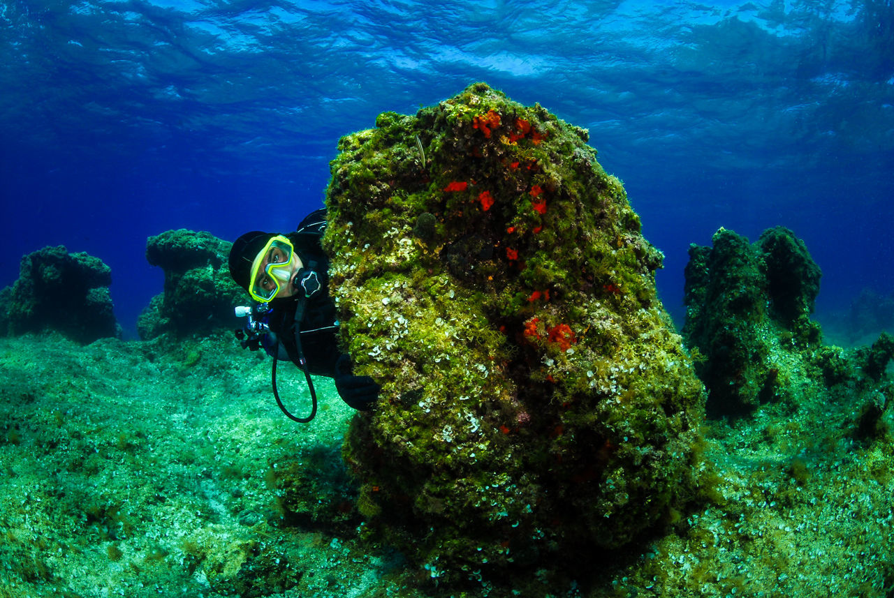 Scuba diver on the bottom of sea with water surface. Underwater photo of a man in scuba gear hiding behind a rock with water surface in the background. Shot in Adriatic sea - Croatia. Adriatic Sea Beauty In Nature Croatia Day Dive Landscape Nature One Person Outdoors People Scuba Diving Scubadiving Scubadivingpic Sculpture Sea Sea Life UnderSea Underwater Underwater Photography