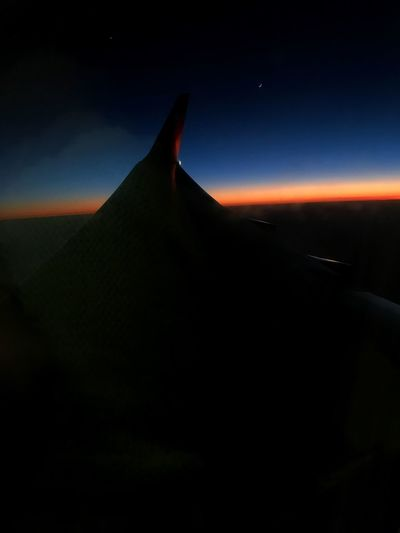 Airplane sunset Sunset Sky Crescent Moon Moon Airplane View From Above