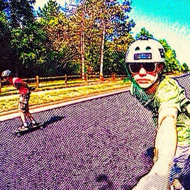 """Another sweet """"drawing"""" of me and @ross_what_up329 bombing a killer hill! Longboard Longboards Longboarder Longboarding Longboardsoapbox Longboarddownhill Landyachtzswitchblade @longboards_only @_longboarding @_longboardworld @skate.ama @longboardspaceedits @longboardsociety @longboardinglifestyle @perfectlongboard Holesom Holesompucks Holesomslidepucks Sector9butterballs Gopro Goprohero3 Goprolongboard"""