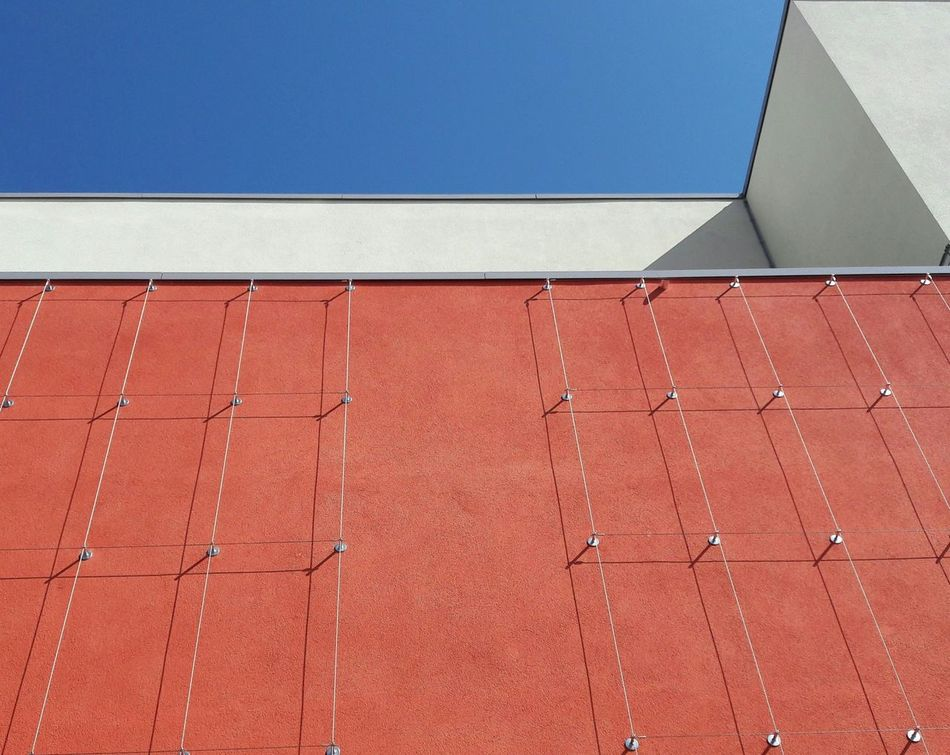 3. Built Structure Architecture Architectural Detail Modern Architecture Urban Geometry Building Exterior Day No People Red Façade Facade Colours Facade Detail Urban Geometry. Looking Up Trellis Weir Copy Space Outdoors Pattern Architecturephotography Metal Lowangleview Shadows Shadow And Light