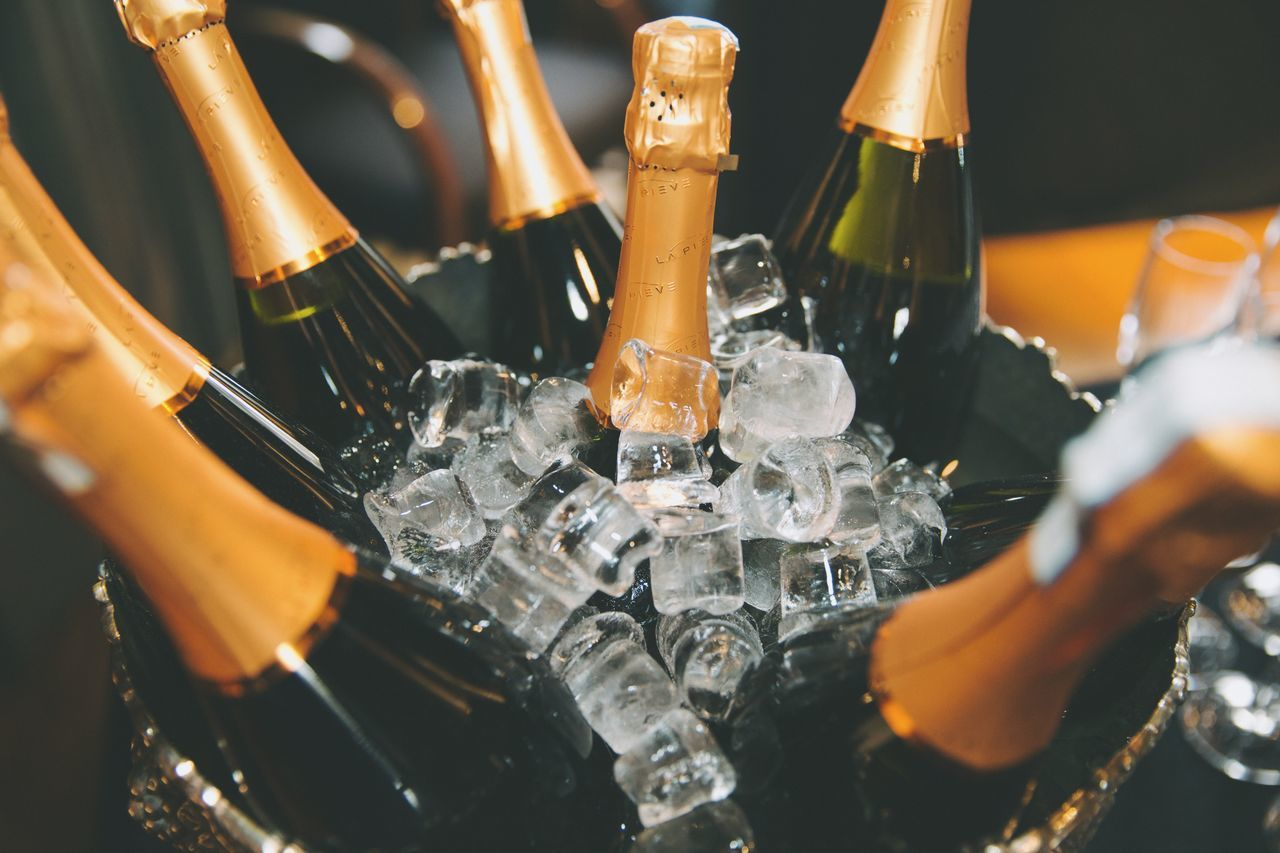 Bottle Of Champagnes In Ice Bucket