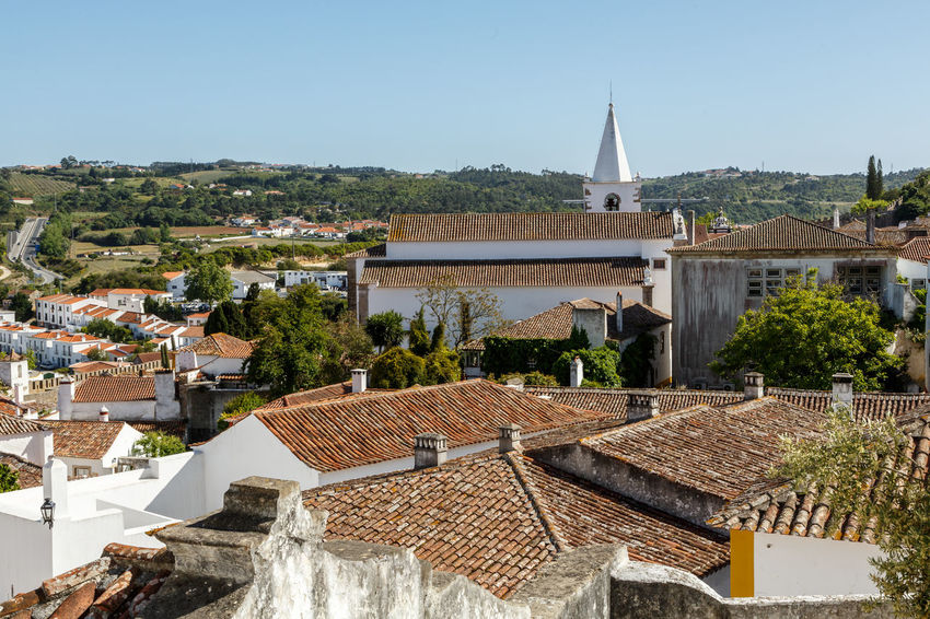 Architecture Building Exterior Built Structure City Cityscape Clear Sky Day High Angle View Nature No People Outdoors Roof Sky The Architect - 2017 EyeEm Awards Tiled Roof  Town Tree Water Óbidos