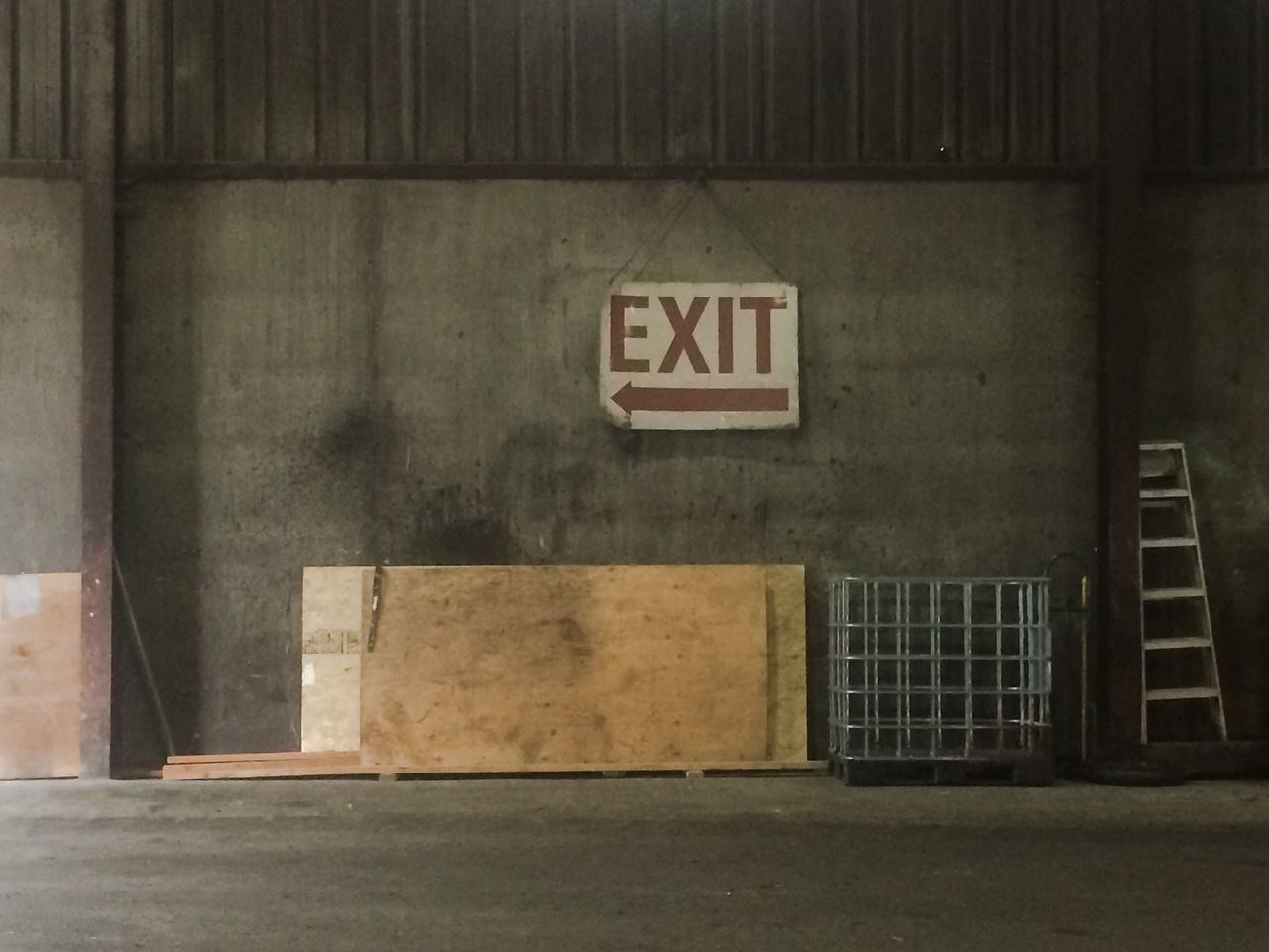 Everything In Its Place Exit Sign Direction Directional Ladder Warehouse Directional Sign Plywood Crate Metal Recycle