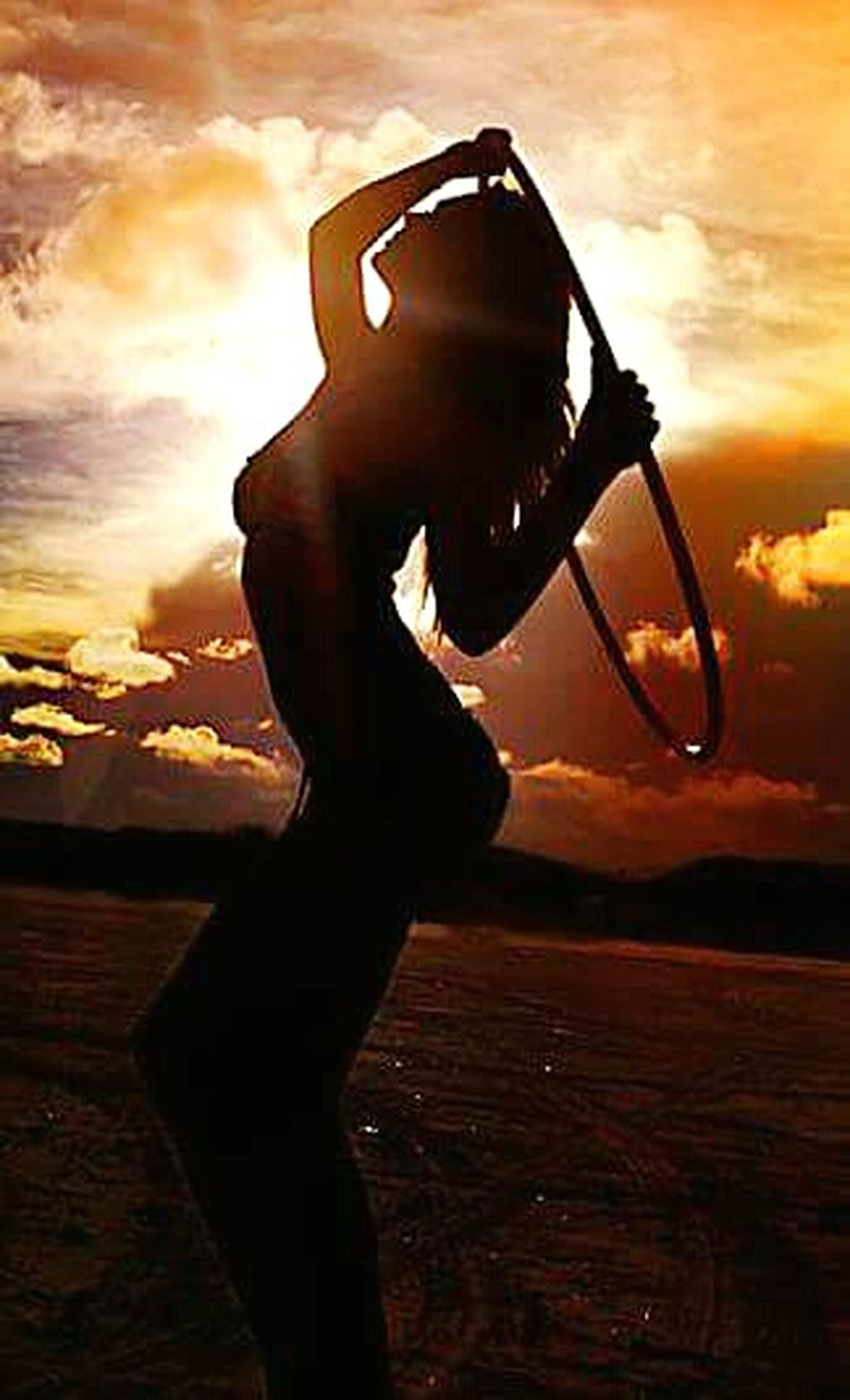 Picturing Individuality Hulla Hooping Goddess Having Fun Sunset_collection Sillouette