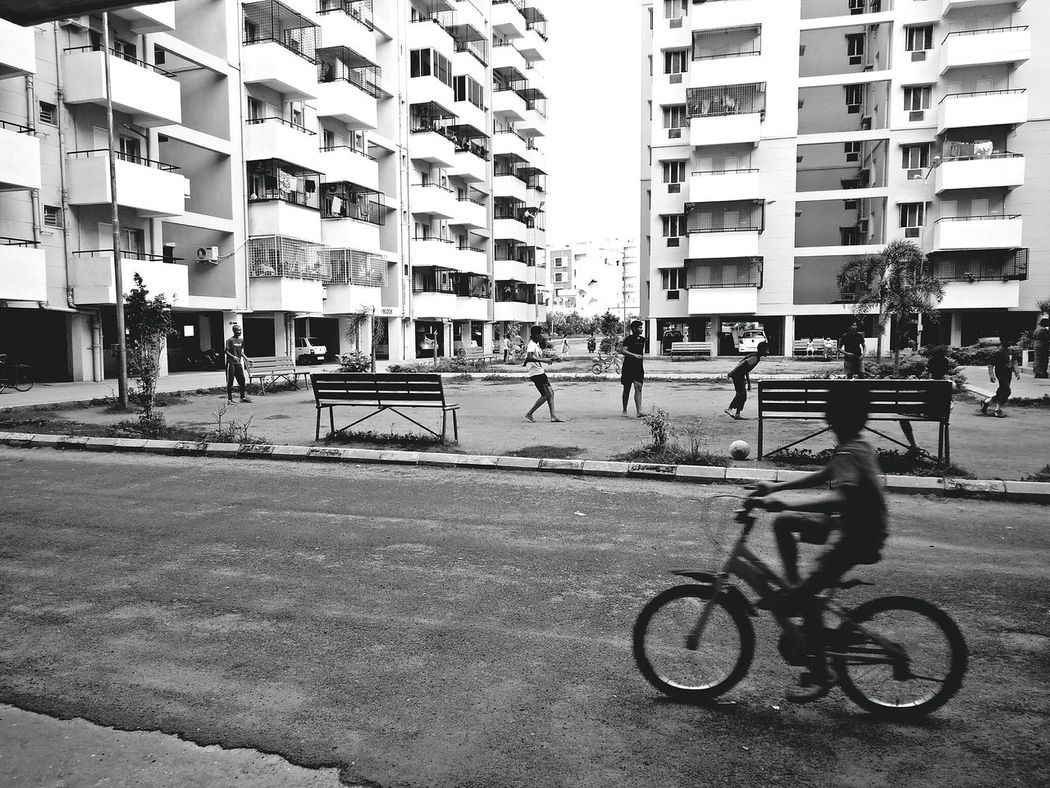 Journey Bike Ride Bycycle Cycle Cycling Apartments Children Playing Blackandwhite Original Experiences