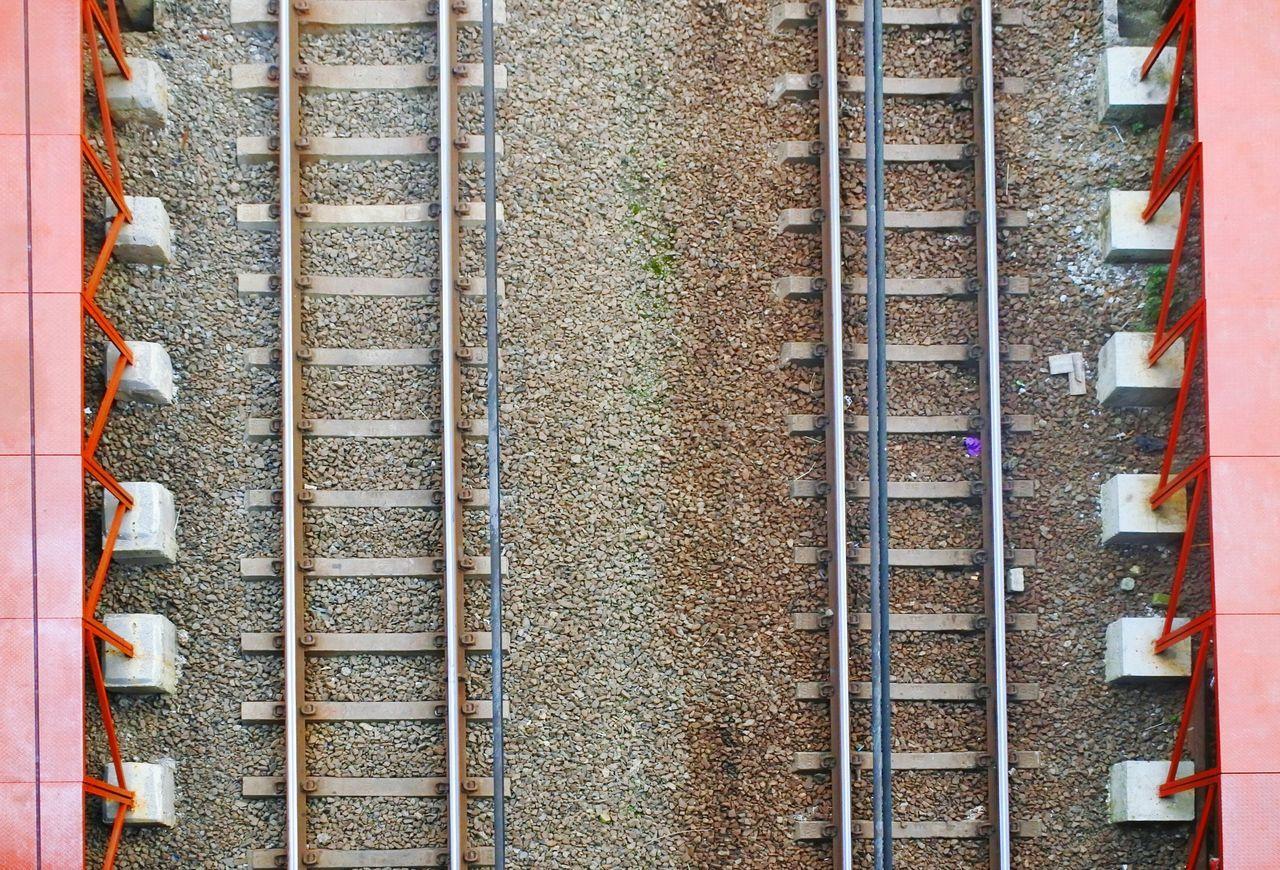 Flying High Textured  Metal Parallel Outdoors High Angle View EyEm New Here Railroad Track Train Tracks Train Ride Eyeemoninstragram