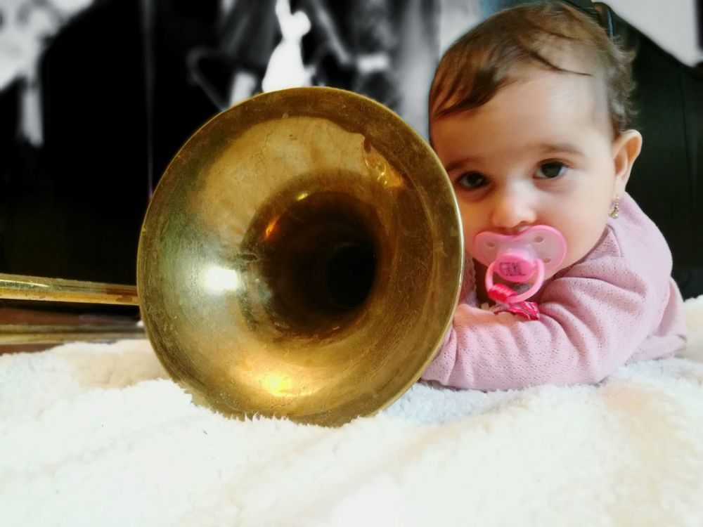 Children Only Child One Girl Only Playing Childhood Front View Fun Music Close-up Portrait Indoors  Trombone Trombones Trombone <3 Trombonist Brass Brassband