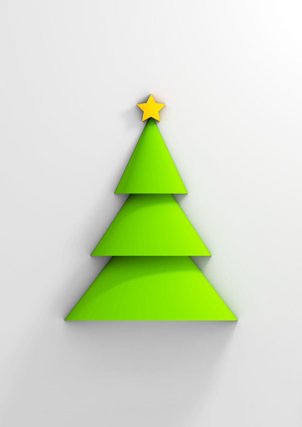 Geometrical christmas tree Christmas Tree Minimalism Geometric Shapes Star Xmas Xmas Tree Green Tree Infinity Shadow