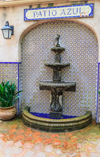 Tlaquepaque Village, Sedona, AZ Art And Soul Of Sedona Arts And Craft Village Blue Blue Patio Close-up Colored Tiles Day Fountain Green Color Multi Colored No People Outdoors Patio Azul Place Above Clay Land Plant Tlaquepaque Wall Fountain