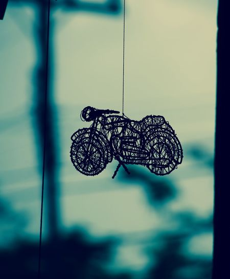 Art Hanging Sculpture Iron Mash Art Mobile Motorcycle Silhouette Street Photography
