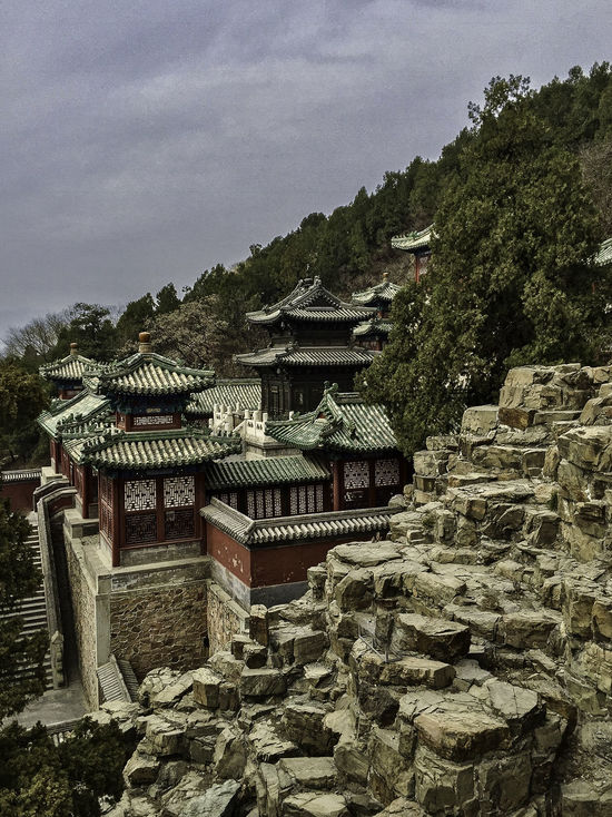 Architecture Beijing Chinese Cliff Day Dynasty Hill Longevity Nature No People Outdoors Pagoda Palace Pavilion Qing Rocks Roof Sky Stairs Steps Summer Travel Tree Walls Yiheyuan