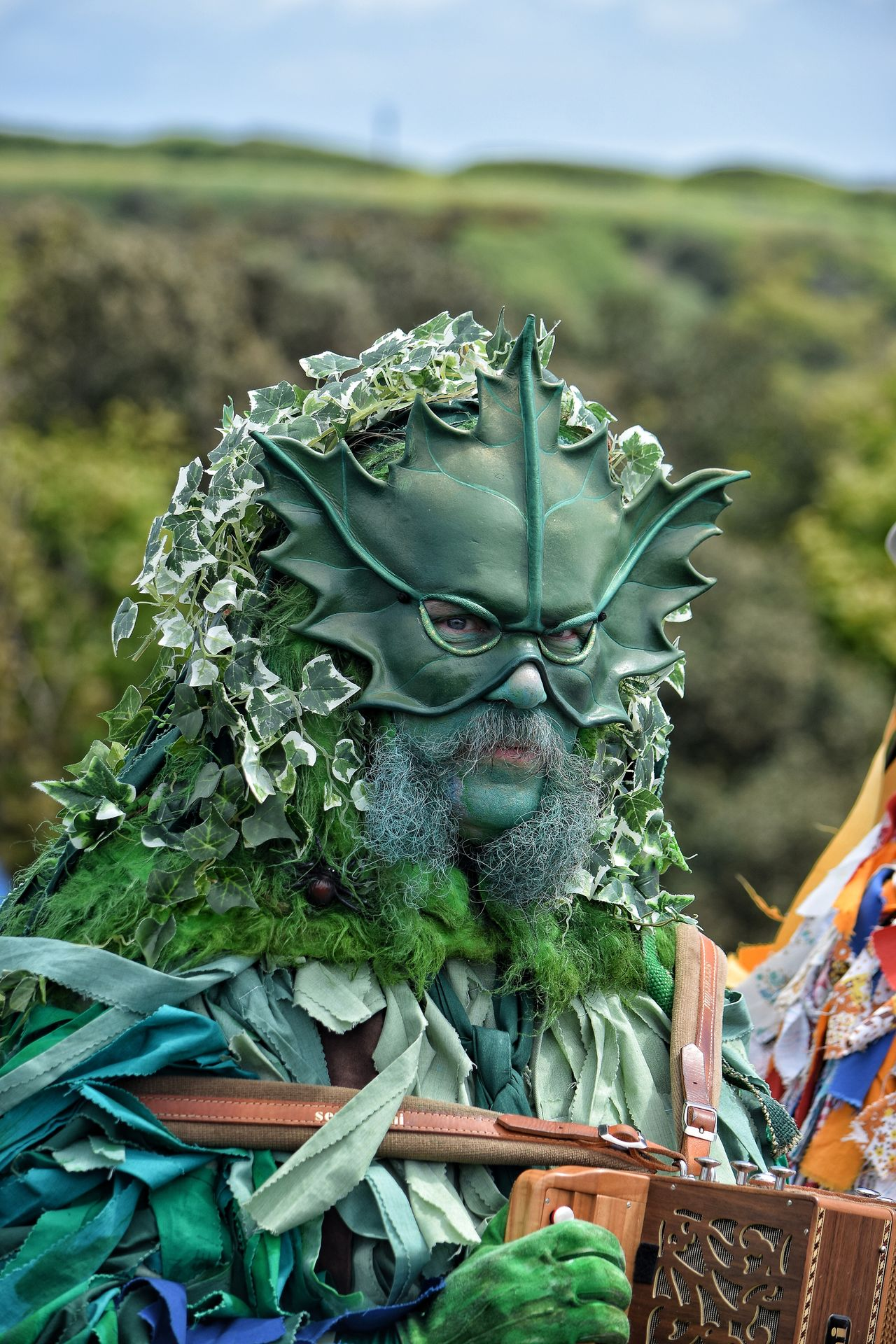 Jack In The Green Jack In The Green Festival Hastings May Day 2017 East Sussex Green Green Man Bearded Man Celebration May Festival Pagan Nature Close-up Green Face Portrait Outdoors Festival Costume May Day Face Make Up One Man Only Parade Life Beard Mask