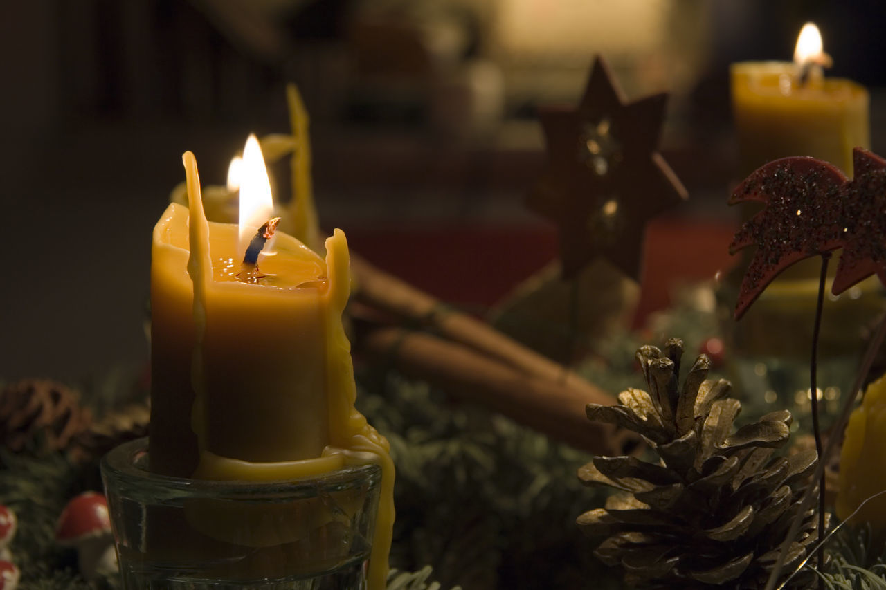 beeswax candles on an advent wreath - romantic lighting Advent Advent Beeswax Beeswax Candle Burning Candle Candle Candle Light Candlelight Candlelights Celebration Christmas Christmas Christmas Decoration Christmas Decorations Christmas Lights Close-up Flame Illuminated Illumination Indoors  Light Lighting Equipment No People Wreath