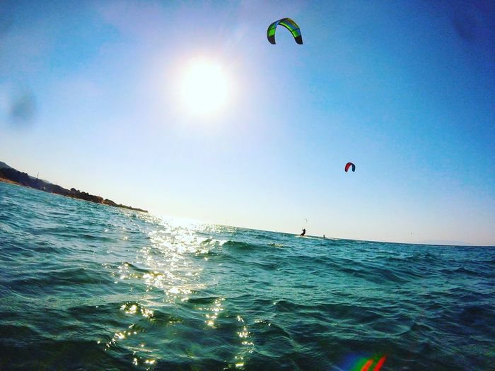 Sea Mid-air Beach Horizon Over Water Adventure Motion Sun Wave Scenics Extreme Sports Kitesurfing Summer Greek ıslands Photography Lover Greek Beauty Rhodes, Greece
