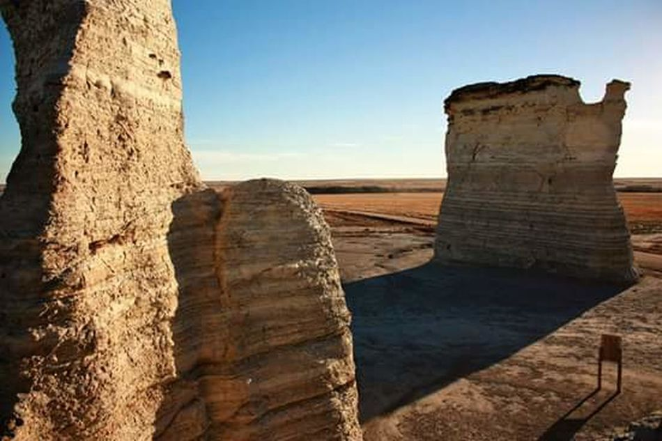 Rock Formation Rock - Object Sandstone Extreme Terrain Travel Outdoors Travel Destinations No People Sky Nature Landscape Day Clear Sky Sunlight Kansas Middle Of Nowhere Xsi Canon Camera Rural Scene Beauty In Nature Nature Rock Formation Natural Landmark Scenics High Angle View