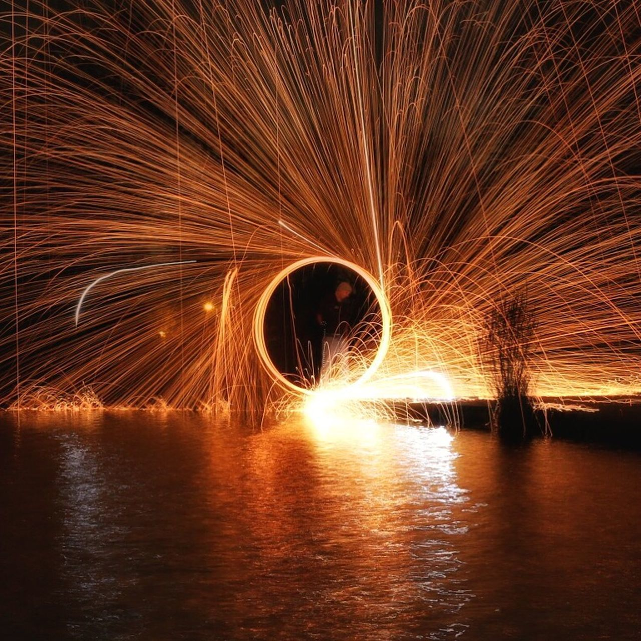 long exposure, night, motion, wire wool, water, reflection, illuminated, river, waterfront, outdoors, no people, nature