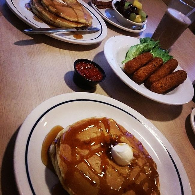 Happy Nationalpancakeday ! Got our grub on at Ihop OrShouldISayOldPeopleCentral Madhouse