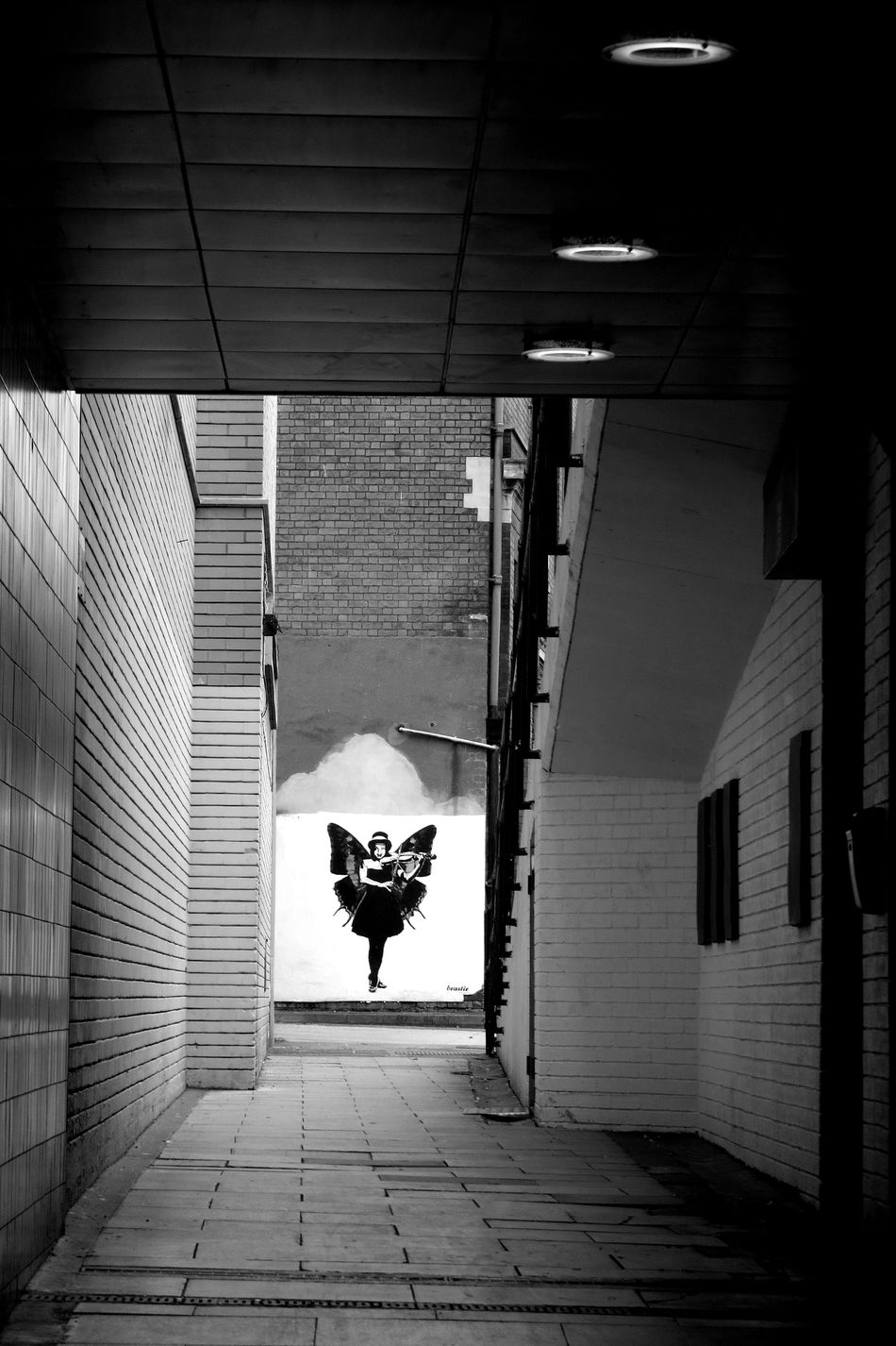 Alley Architecture Beauty In Ordinary Things Black And White Black And White Photography Building Exterior Built Structure Day Fairy Fantasy Art Gloucester Graffiti Imagination Lady Light Abstracts  No People Outdoors Street Art Street Art/Graffiti Tunnel Way Out Wings